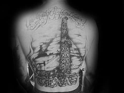 Male With Oilfield Texas Full Back Tattoo