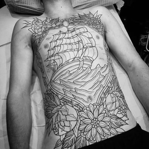 Male With Old School Traditional Great Full Chest Sailing Ship With Waves And Flowers Tattoo Design