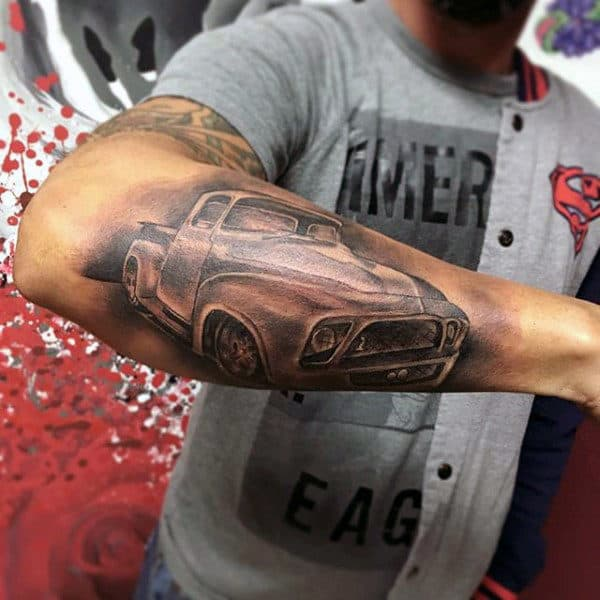 Male With Outer Forearm Shaded Old School Truck Tattoo