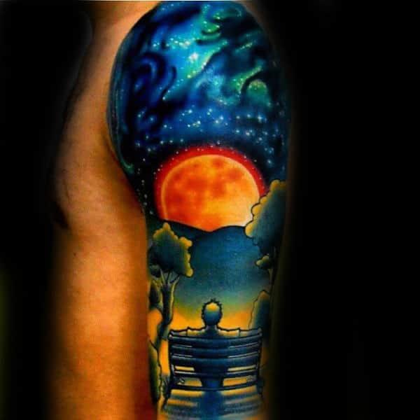 Male With Park Bnech Sky Modern Half Sleeve Tattoo