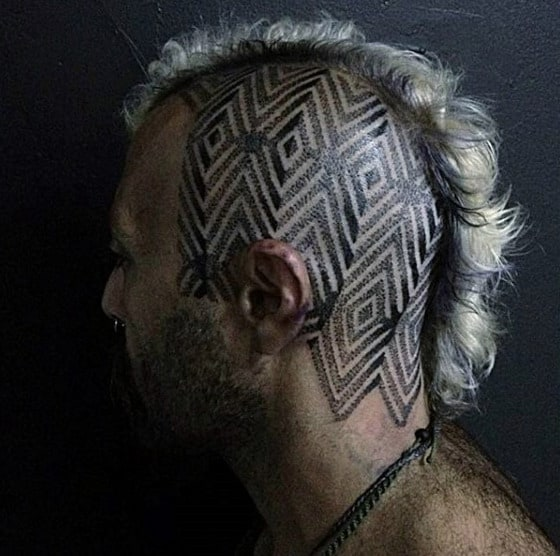 Male With Pattern Geometric Head Tattoo