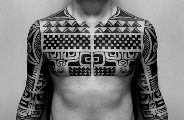Male With Pattern Old School Sick Tribal Chest And Sleeve Tattoo