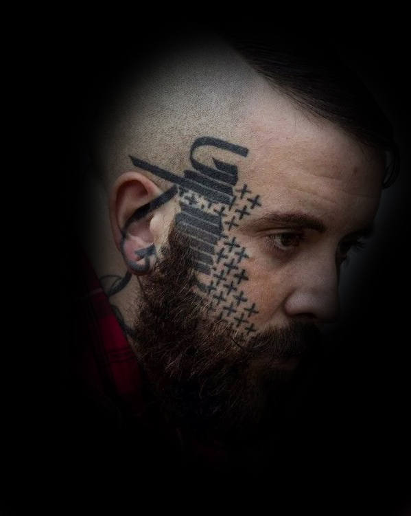 Male With Plus Sign Pattern And Lettering Face Tattoo Design