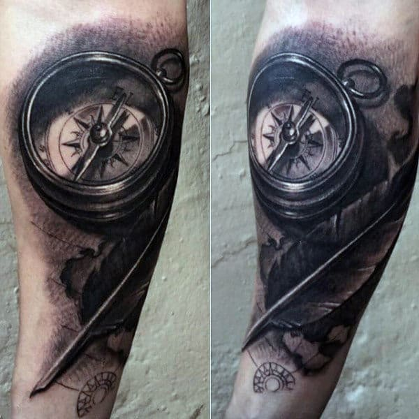 Male With Pocket Compass Tattoo