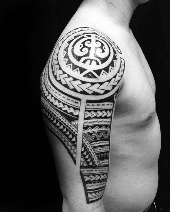Male With Polynesian Black Ink Tribal Tattoo Half Sleeve