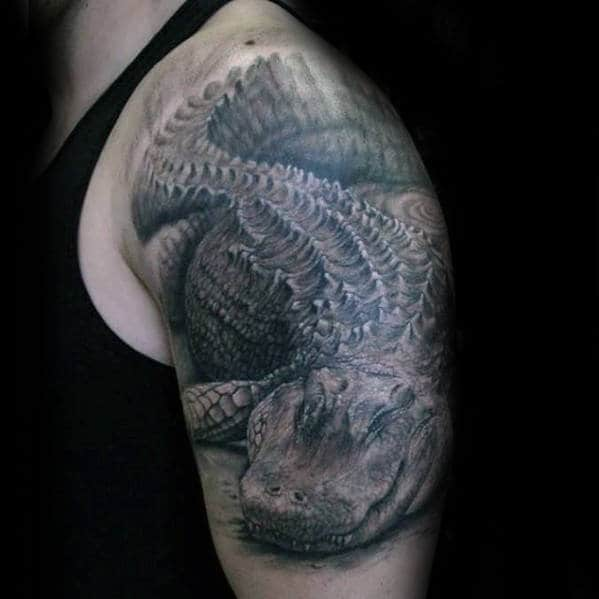 Male With Realistic 3d Alligator Arm Tattoo