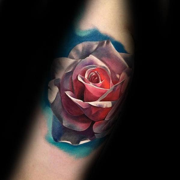 Male With Realistic 3d Awesome Rose Flower Arm Tattoo