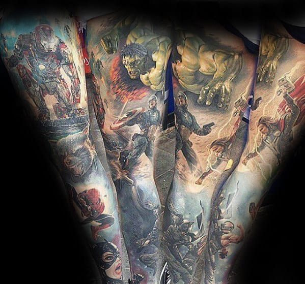 Male With Realistic 3d Marvel Full Sleeve Tattoo On Leg