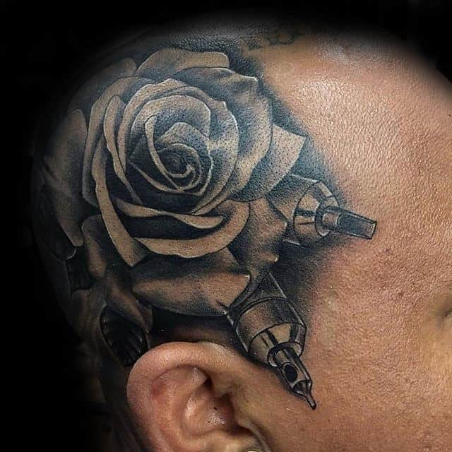 Male With Realistic Black Rose Head Tattoo