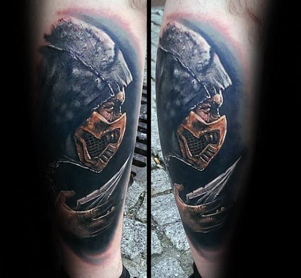 Male With Realistic Mortal Kombat Leg Tattoo