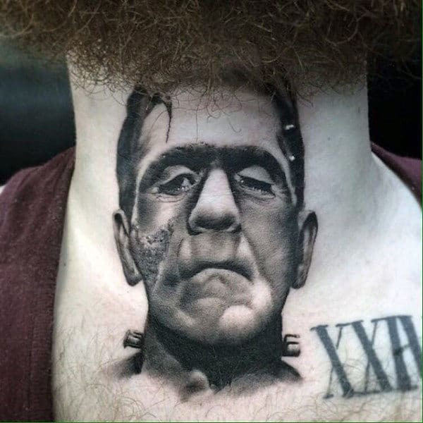 Male With Realistic Shaded Frankenstein Neck Tattoo