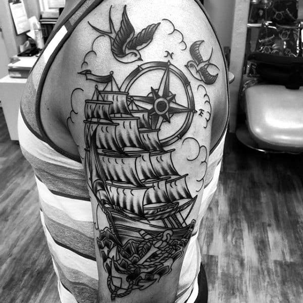 Male With Sailing Ship Traditional Compass Half Sleeve Tattoo Design