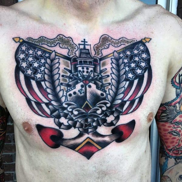 Male With Sailor Jerry Style Navy Upper Chest Tattoo