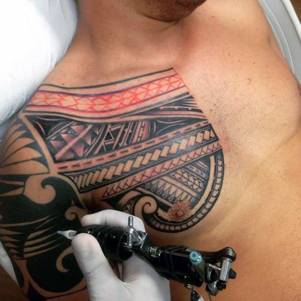 Male With Samoan Tribal Chest And Arm Tattoo Designs