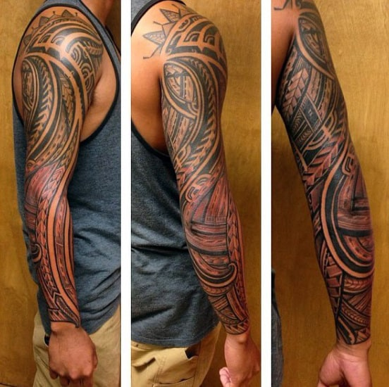 Male With Samoan Tribal Full Sleeve Shaded Tattoo Design