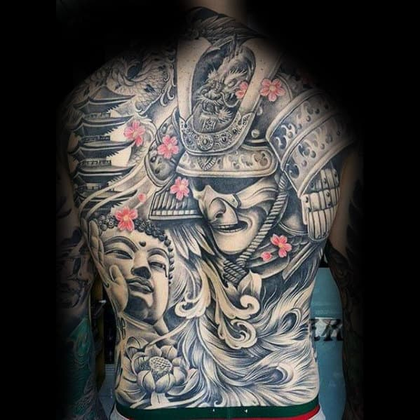 Male With Samuari And Temple Japanese Full Back Tattoo Design