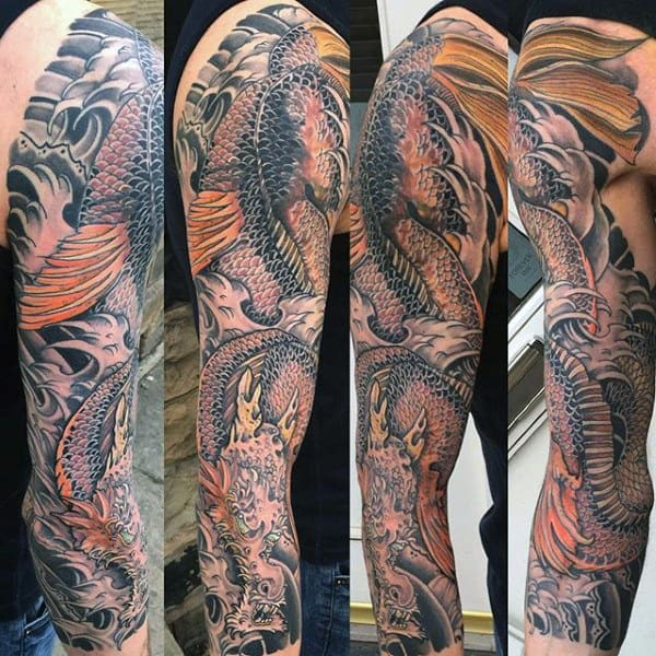 Male With Scaly Dragon Japanese Sleeve Tattoo