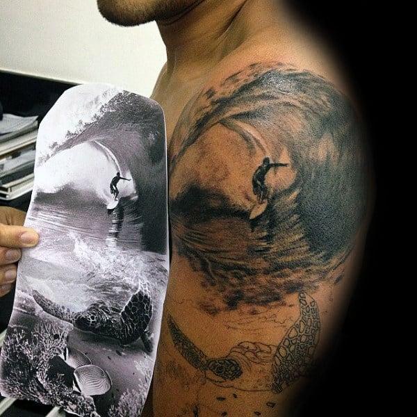 90 surf tattoos for men oceanic design ideas. Black Bedroom Furniture Sets. Home Design Ideas