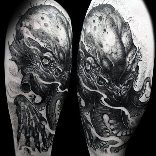 Male With Shaded Black And Grey Dark Cthulhu Arm Tattoo