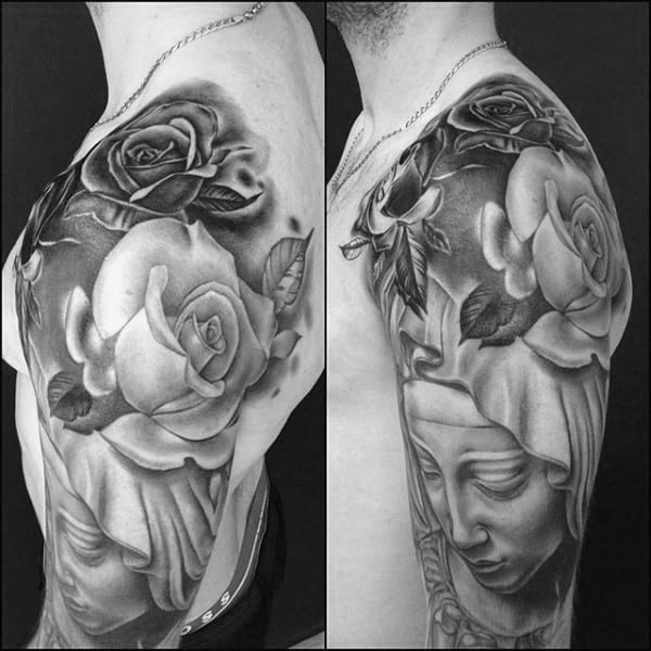 Male With Shaded Black And Grey Rose Flower Virgin Mary Half Sleeve Tattoos