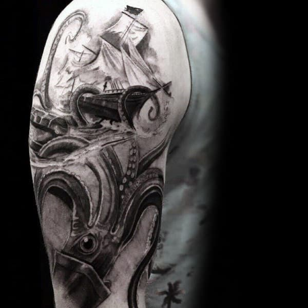 Male With Shaded Grey And Black Ink Kraken Realistic Tattoo On Upper Arms