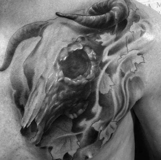 Male With Shaded Leaf Bull Skull Chest Tattoos