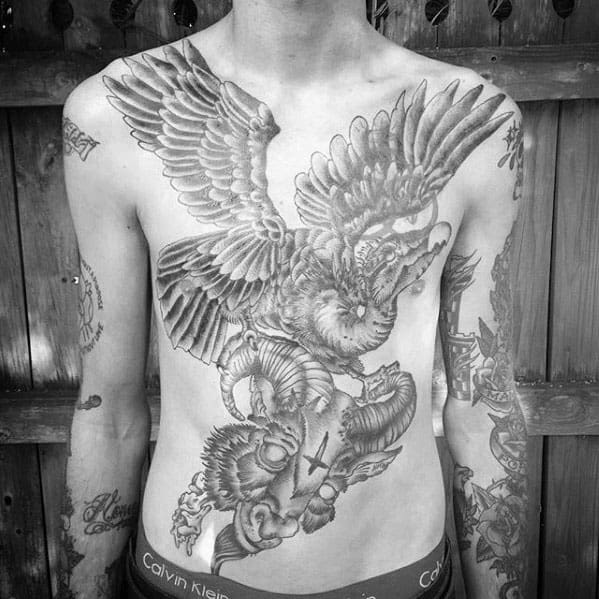 Male With Shaded Vulture Flying With Ram Skull Chest Tattoo