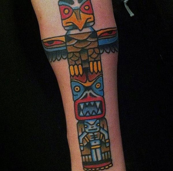 Male With Simple Neo Traditional Totem Pole On Forearm