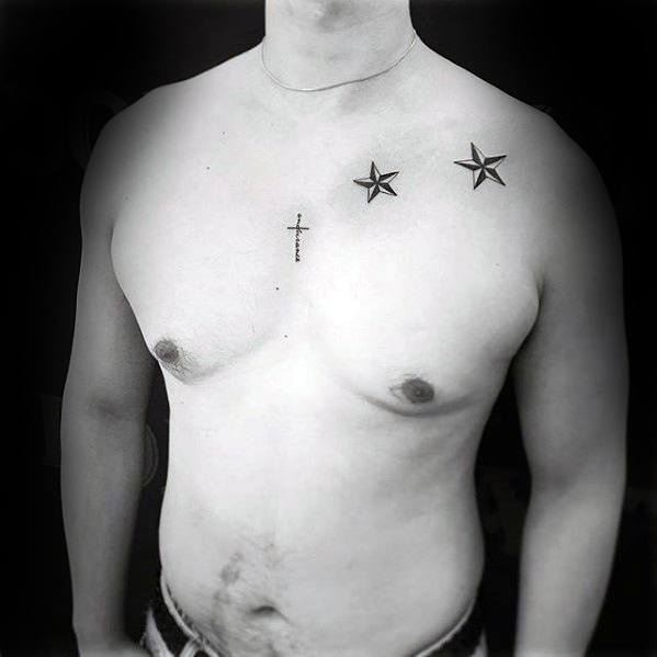 Male With Simple Star Nautical Upper Chest Tattoos