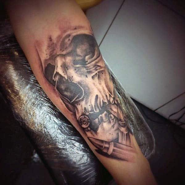Male With Skull Bullet Forearm Mens Tattoos