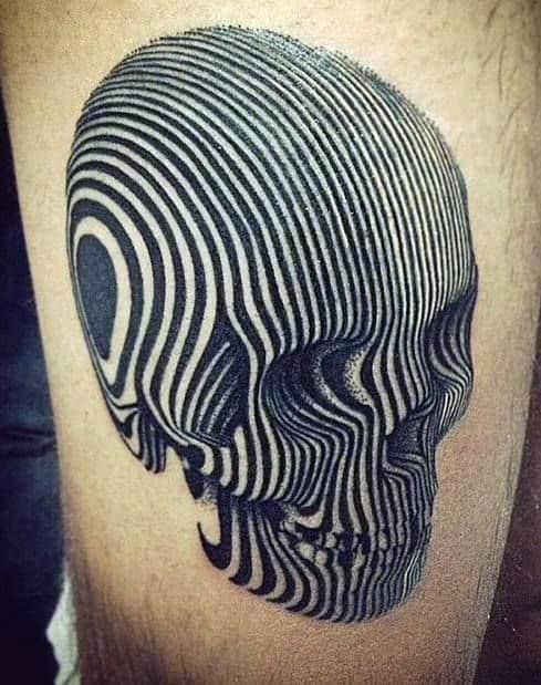 Male With Skull Lines Optical Illusion Tattoo On Thigh