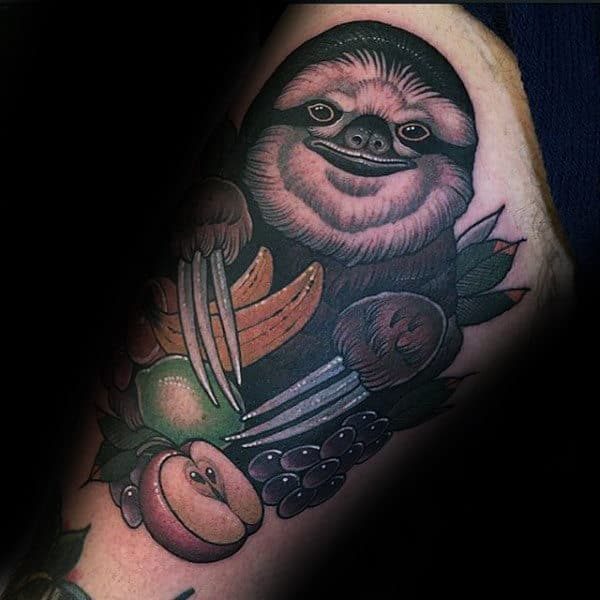 Male With Sloth And Fruits Thigh Tattoos