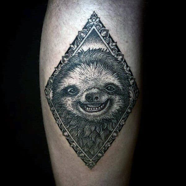 Male With Smiling Sloth Arm Tattoo Inside Picture Frame