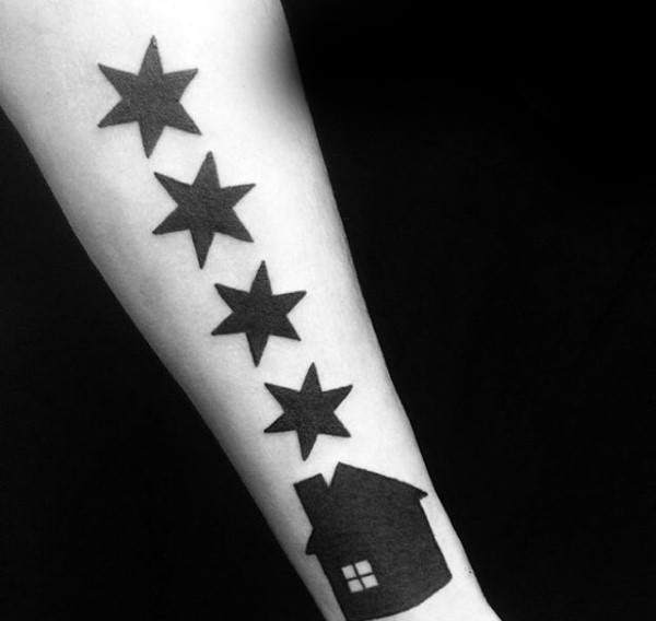 Male With Solid Black Ink Chicago Flag Home Tattoo Design