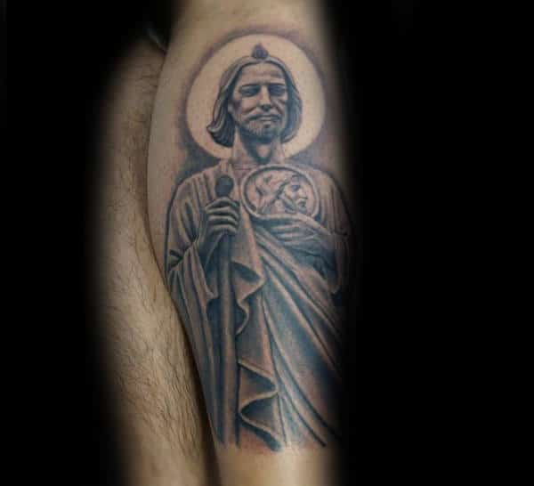 Male With St Jude Side Of Leg Tattoo