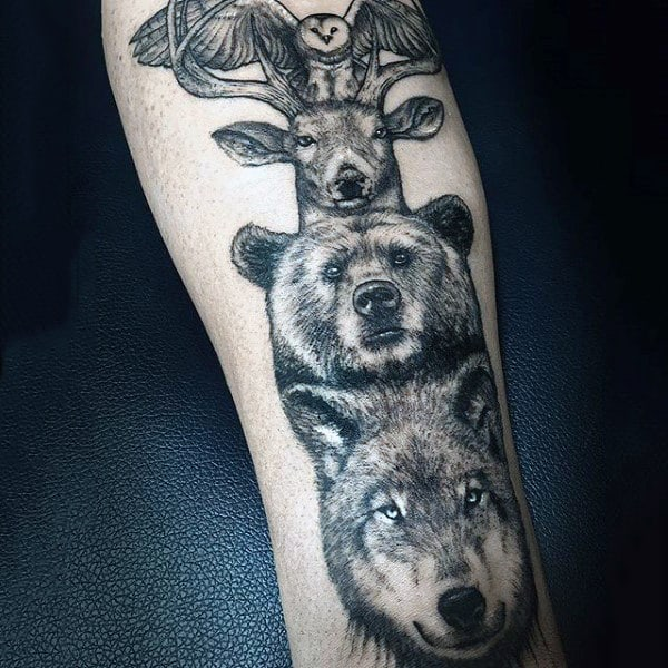 Male With Stylish Realistic Shaded Totem Pole Tattoo On Forearm