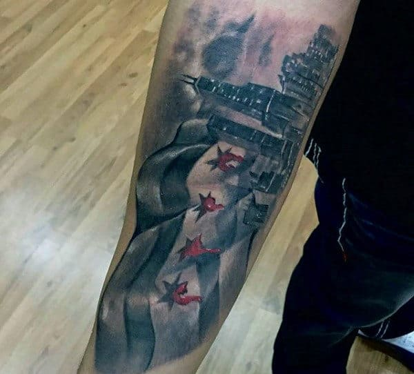 Male With Tattoo Of Chicago Flag And City Skyline On Forearms