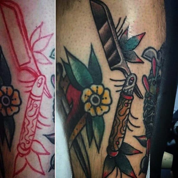 Male With Tattoo Of Old School Straight Razor Design