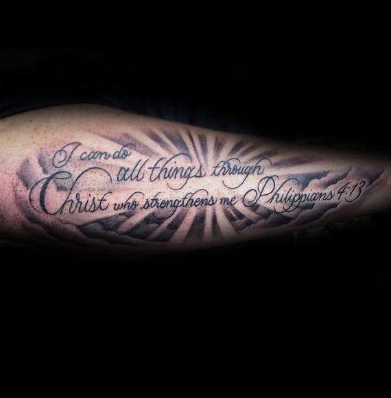 Bible Quote Tattoos: 40 Philippians 4:13 Tattoo Designs For Men