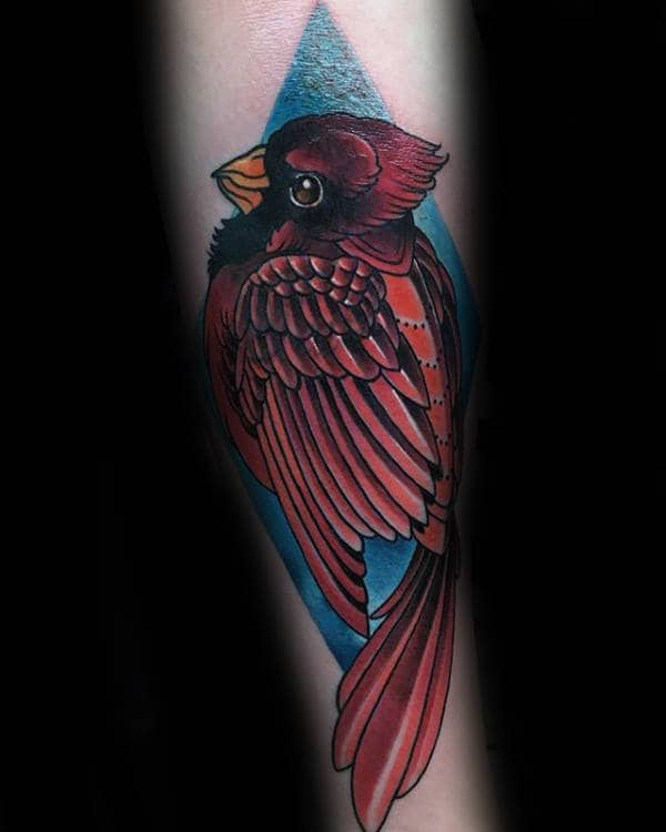 Male With Tattoo Of Red Cardinal And Blue Ink Background Design