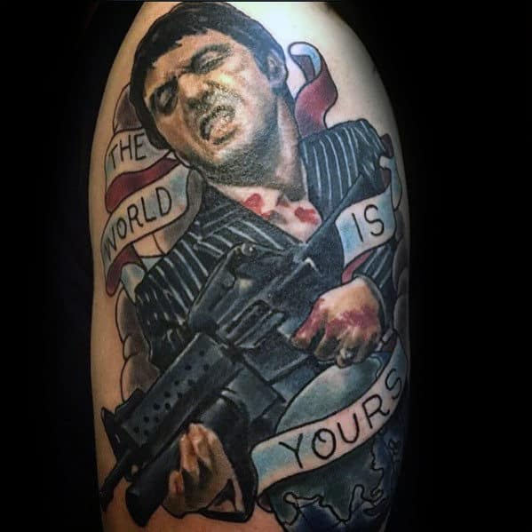 Male With The World Is Yours Scarface Arm Tattoos