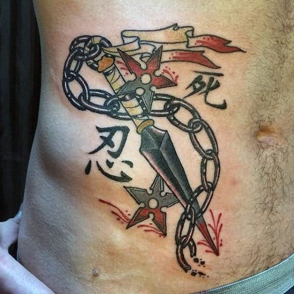 Male With Throwing Star And Katana Rib Cage Side Japanese Ninja Tattoo