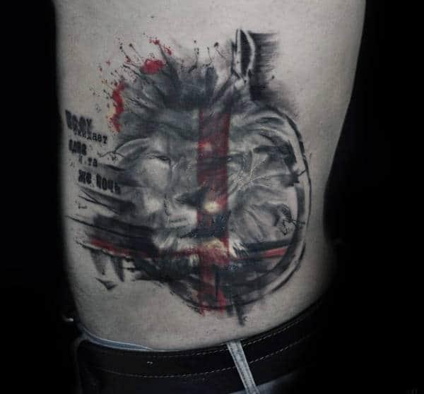 Male With Trash Polka Rib Cage Side Of Body Tattoo