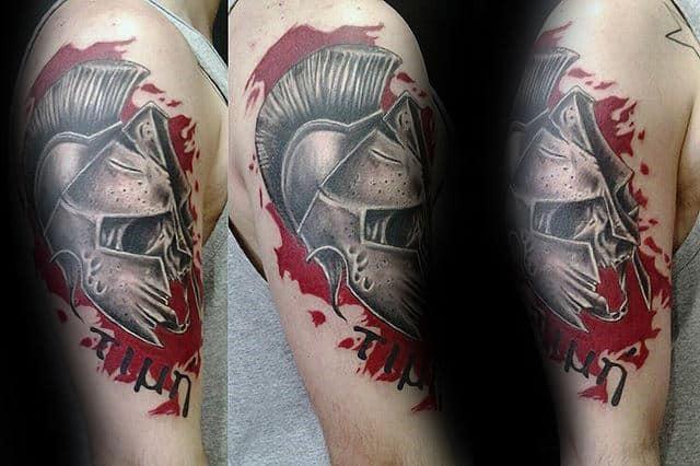 Male With Trash Polka Warrior Helmet Arm Tattoo