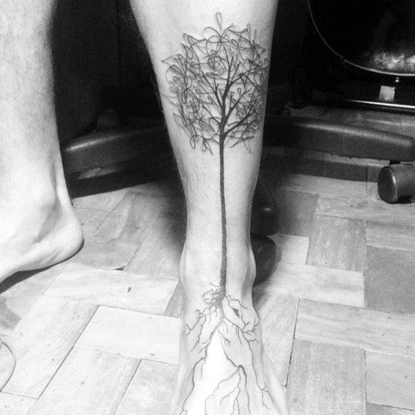 60 tree roots tattoo designs for men manly ink ideas for Mens foot tattoos