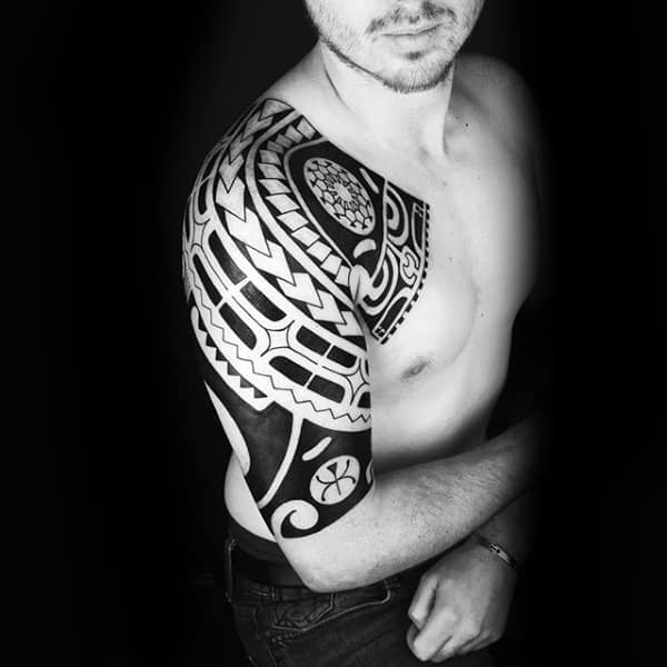 Male With Tribal Half Sleeve And Chest Tattoo Owl Design