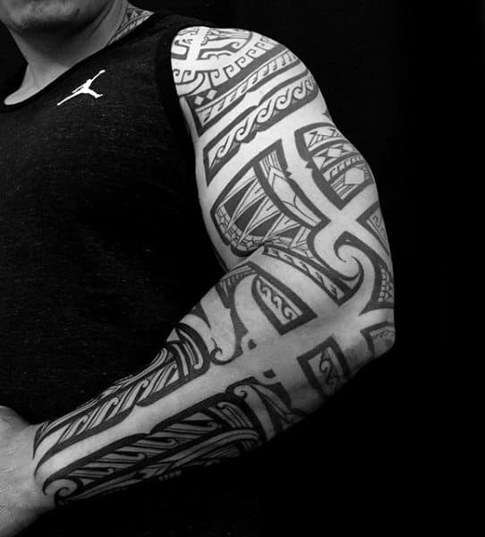 Male With Tribal Tattoo Sleeve