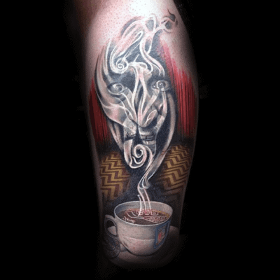 Male With Twin Peaks Hot Coffee Tattoo Design On Leg