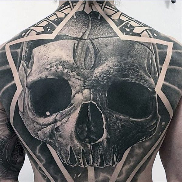 Male With Unbelievable Full Back Skull Tattoo