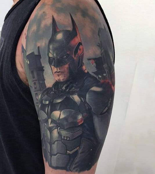 Male With Upper Arm Batman Tattoo Design Watercolor